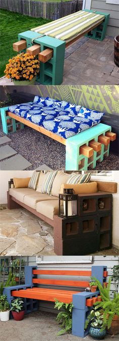 21 beautiful DIY benches for every room. Great tutorials on how to build benches… 21 beautiful DIY benches for every room. Great tutorials on how to build benches easily out of wood, concrete blocks, or even old headboards and dressers. Outdoor Projects, Home Projects, Design Projects, Craft Projects, Indoor Outdoor, Outdoor Living, Indoor Benches, Patio Bench, Wood Benches