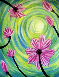 Paint Nite - Admin Panel » Unknown Pink Flowers Gabriel Nazareta