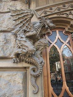 dragon detail around door entry, Palazzo della Vittoria Turin art nouveau Liberty style Art Nouveau, Beautiful Architecture, Architecture Details, Gothic Architecture, Here Be Dragons, Turin Italy, Dragon Art, Pet Dragon, Architectural Elements