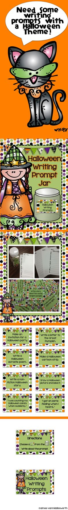 Write about Halloween through October! This packet is a great way to improve writing through ideas!! The Prompt Jar is has 32 cards with writing prompts.