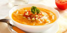 Roasted Garlic and Butternut Squash Soup with Roasted Red Pepper Tomato Salsa | W Network
