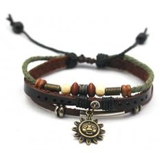 Sunflower. Leather charm bracelet with colorful beads. Unisex