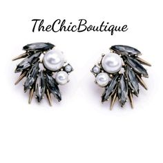 These earrings have a faux pearl and smoky grey stones on an antique gold finish. Pair with our chokers or necklaces for a complete look.  Fast and free shipping in the U.S. | Shop this product here: http://spreesy.com/TheChicBoutique/151 | Shop all of our products at http://spreesy.com/TheChicBoutique    | Pinterest selling powered by Spreesy.com