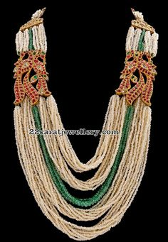 pearls long chain with pachi work pendant, pearls long haram with peacock motifs Fancy Jewellery, Bead Jewellery, Antique Jewellery, Diamond Jewellery, Gold Necklace Simple, Pearl And Diamond Necklace, Beaded Necklace Patterns, Beaded Jewelry Designs, Bridal Jewelry