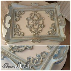Gorgeous ornate diy ideas for serving tray, frames, mirror, glass, polymer clay Nişan tepsisi Mirror Crafts, Diy Mirror, Mirror Glass, Mirror Collage, Shabby Chic Wall Decor, Homemade Home Decor, Painted Boxes, Stencil Art, Pottery Studio