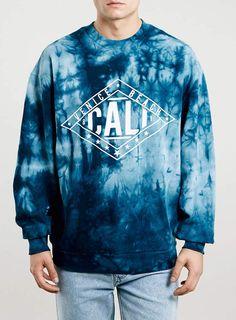 Topman Blue California Tie Dye Sweatshirt on shopstyle.com