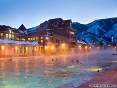 Glenwood Hot Springs, Colorado - Guests at this Colorado Rockies lodge relax in the world's largest hot springs pool, where 3.5 million gallons of nearby Yampah Springs water flow into one of two bubbling mineral pools daily. The temperature in the smaller therapy pool is a steamy 104 F. The larger pool, which measures more than two city blocks, is kept at a balmy 93 F.