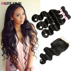 8A Brazilian Virgin Hair With Closure Brazilian Body Wave With Closure Queen Hair Products With Closure Bundle Human Hair Weave