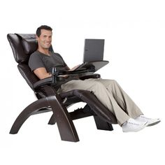 Perfect Chair Human Touch Omni-Motion Power Dark Walnut Zero-Gravity Recliner + Laptop Personal Computer Desk Table - Red Top Grain Leather - in-Home White Glove Delivery Laptop Table, Laptop Desk, Table Desk, Desk Chair, Cool Couches, Best Laptops, White Gloves, Cool House Designs, Chair Covers