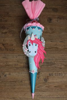 Inspiration für den Schulanfang und die Einschulung: Schultüte Einhorn / inspiration for the first day of school made by Kopf-Art via DaWanda.com