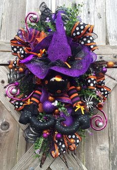 Halloween Wreath Halloween Mesh Wreath Halloween by BaBamWreaths COME SEE MY HOLIDAY BOARDS I AM READY FOR THE HOLIDAYS.