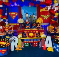 Superman Birthday Party, Superhero Theme Party, Avengers Birthday, Twin Birthday Themes, Boy First Birthday, Wonder Woman Birthday, Wonder Woman Party, Superman Party Decorations, Parties