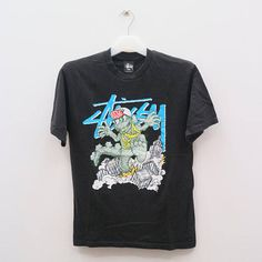 Vintage STUSSY Steetwear Hip Hop Skate Black Tee T Shirt Size