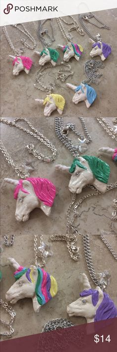 """🦄 RitzeeRebel Clay Unicorns Exist Necklace 🦄Polymer clay glittery unicorn necklaces, handmade by me for my STORENVY store!  🦄Brand new. Please wear these with care and do not submerge in water or spray perfume on them. 🦄All molding, painting, glitter on horns and beading are done by hand. Each one takes a few hours to complete. 🦄Necklaces are plated, nickel-free and measure about 18"""" long. 20"""" total including unicorn.  ‼️Price is FIRM! Please remember that these are handmade items, plus…"""