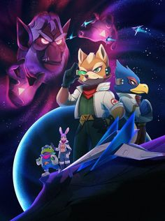 "JJ ✨🌸 on Twitter: ""Poster commission 💫🦊… "" Halo Poster, Star Fox 64, Shining Tears, Fox Mccloud, Fox Games, Fox Art, Video Game Characters, Fandom, Video Game Art"