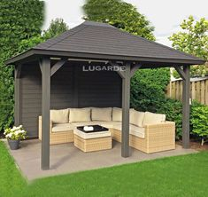 Lugarde gazebo VV5 with a pyramid roof and dark grey exterior.