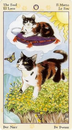 The Fool - Tarot of the Pagan Cats - pretty cool contrast in the symbolism of this specific card menageatarot.com