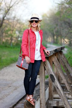 Hi Sugarplum | Pink Military Jacket styled three ways for spring outfit