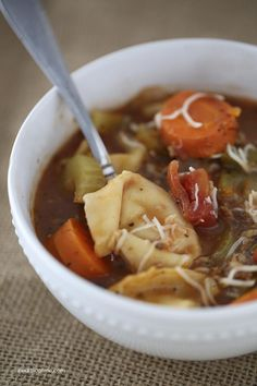 Tortellini sausage soup on iheartnaptime.com ... easy and delicious! Perfect recipe for a cold winter day.