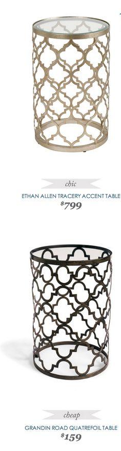 EthanAllen Tracery Accent Table $799 - vs - GrandinRoad Quatrefoil Table $159