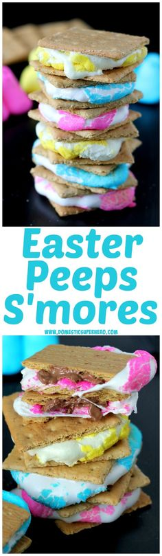 Peeps S& - Ooey Gooey Peeps smooshed into milk chocolate and sandwiched. Peeps S& - Ooey Gooey Peeps smooshed into milk chocolate and sandwiched by graham crackers.this is the BEST Easter treat ever! Easter Peeps, Hoppy Easter, Easter Treats, Easter Food, Easter Stuff, Easter Dinner, Easter Brunch, Easter Party, Easter Table