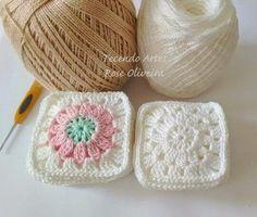 Tecendo Artes em Crochet: Fazendo Squares para uma Almofada e tem Gráfico!