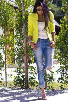 Neon blazer + ripped jeans