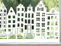 """statische folie """"Grachtenpandjes' in meerdere kleuren. vanaf €24,50 bij www.lipdus.nl"""