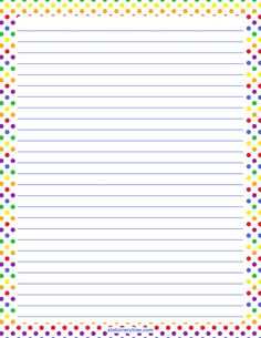 Printable rainbow polka dot stationery and writing paper. Printable Lined Paper, Free Printable Stationery, Lined Writing Paper, Writing Papers, Write My Paper, Notebook Paper, Paper Frames, Stationery Paper, Note Paper