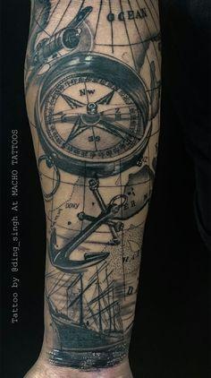 Arm Tattoos For Guys Forearm, Forearm Sleeve Tattoos, Line Tattoos, Cool Tattoos, Ship Tattoo Sleeves, Wanderlust Tattoos, Nautical Tattoo Sleeve, Egyptian Tattoo Sleeve, Compass Tattoo Design