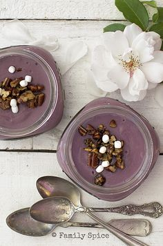 "What a clever dessert idea! Laura of ""Family Spice"" shares this recipe for purple sweet potato pudding, in adorable single-servings. An alternative to sweet potato pie? (Is it sacrilege to even suggest that? Eep!)"