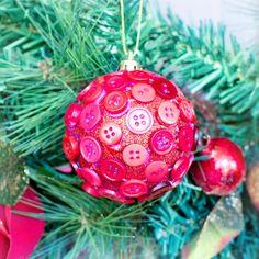 DIY Button Christmas Bauble via Hopeful Honey
