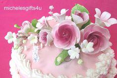 Gum Paste Sugar White  Mauve Roses & Lilies  Flower Cake Decorating Floral Spray #ProfessionallyHandMadeGumpasteFlowers #CakeDecoratingCraftPartyDecorations