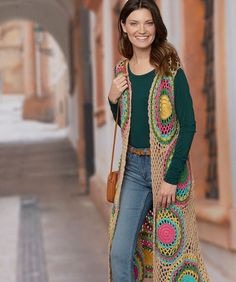 Rainbow Circle Vest - free crochet pattern by Tammy Hildebrand for Red Heart.