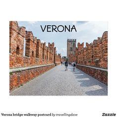 Verona bridge walkway postcard