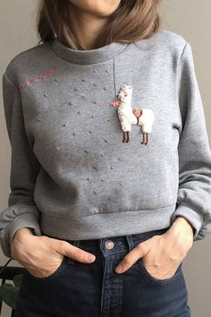 Hand Embroidered Clothing Adds Quirky Fun to Your Closet Basics - . - Hand Embroidered Clothing Adds Quirky Fun to Your Closet Basics – - Embroidery Designs, Hand Embroidery Patterns, Diy Embroidery, Embroidery On Clothes, Embroidered Clothes, Embroidery Fashion, Diy Fashion, Fashion Models, Abaya Mode