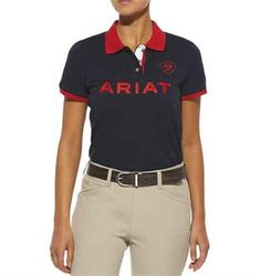 Ariat Team Logo Polo    Be part of a winning team with the Ariat Team Polo! The cotton pique shirt features a rib knit collar, cuffs and is appointed with colour blocked side panels and bold Ariat branding.  Cotton Shirt  Colour Blocked Side Panels  Bold Ariat Branding  Rib Knit Collar  Rib Knit Cuffs    Shop www.greenhawk.com