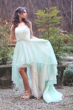 abito da sposa in organza e pizzo, mod. Melissa