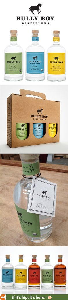 Bully Boy Distillers of Boston's spirits and packaging.