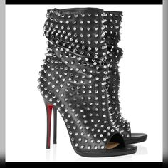 Christian Louboutin Guerilla 120 studded leather ankle boots - in Shoes, Women, To on The Lust List Leather Ankle Boots, Ankle Booties, Bootie Boots, Shoe Boots, Leather Jeans, Black Booties, Heeled Boots, Stilettos, Stiletto Heels