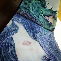 #workofart #drawing #sketch #watercolors #ink #pen #blue #blueviolet #beautiful #femalebeauty #eyes #eterocromy #girl #sketchbook #instaart #artsy