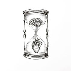 love is like an hourglass with the heart filling up as the brain emptying Sketchbook Drawings, Pencil Art Drawings, Cool Drawings, Art Sketches, Tattoo Sketches, Tattoo Drawings, Brain Drawing, Brain Art, Brain Tattoo