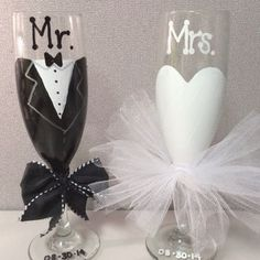 Bride And Groom Toasting Flutes Mr Mrs Wedding Champagne Gles Bridal