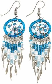 Stainless Steel Dreamcatcher Blue Beaded Dangle Earrings