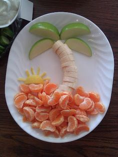 Found this on Marie's Cooking Adventure's blog.  You use apples for the palm tree leaves, bananas for the trunk, & oranges for the sand!    Fruit Tray with Vanilla Toffee Dip    Fruit Dip      What you need:   1 (8oz) package of cream cheese   3/4  cup BROWN sugar  2 tsp vanilla  Toffee bits (I used the HEATH brand that is covered in chocolat...