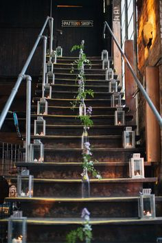There's something I love about this staircase. The lanterns look like they are from Ikea. Wedding Stairs, Indoor Ceremony, Stair Decor, Let's Get Married, Outside Living, Wedding Anniversary Gifts, Reception Decorations, Wedding Designs, Wedding Inspiration