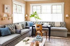 Half Curtains, Tier Curtains, Banquette Seating, Home Trends, 2015 Trends, Entertainment Room, Home And Family, Family Rooms, Living Spaces