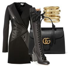 """""""Untitled #29"""" by tinachagnon on Polyvore featuring Thierry Mugler, Alexis Bittar, Gucci, Chloé, women's clothing, women's fashion, women, female, woman and misses"""
