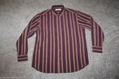 New Tommy Bahama Mens Silk Stripe Camp Shirt Plum Straight Away Size Large