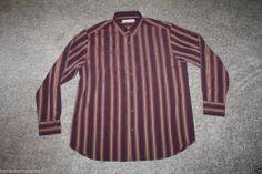 New Tommy Bahama Mens Silk Stripe Camp Shirt Plum Straight Away Size Large
